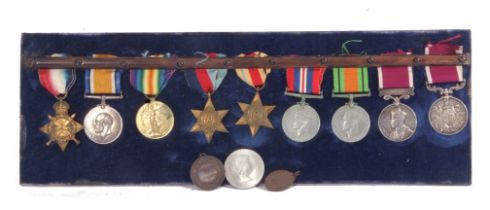 Group: Queen Victoria Army long service and good conduct medal, with swivelling scroll suspension to