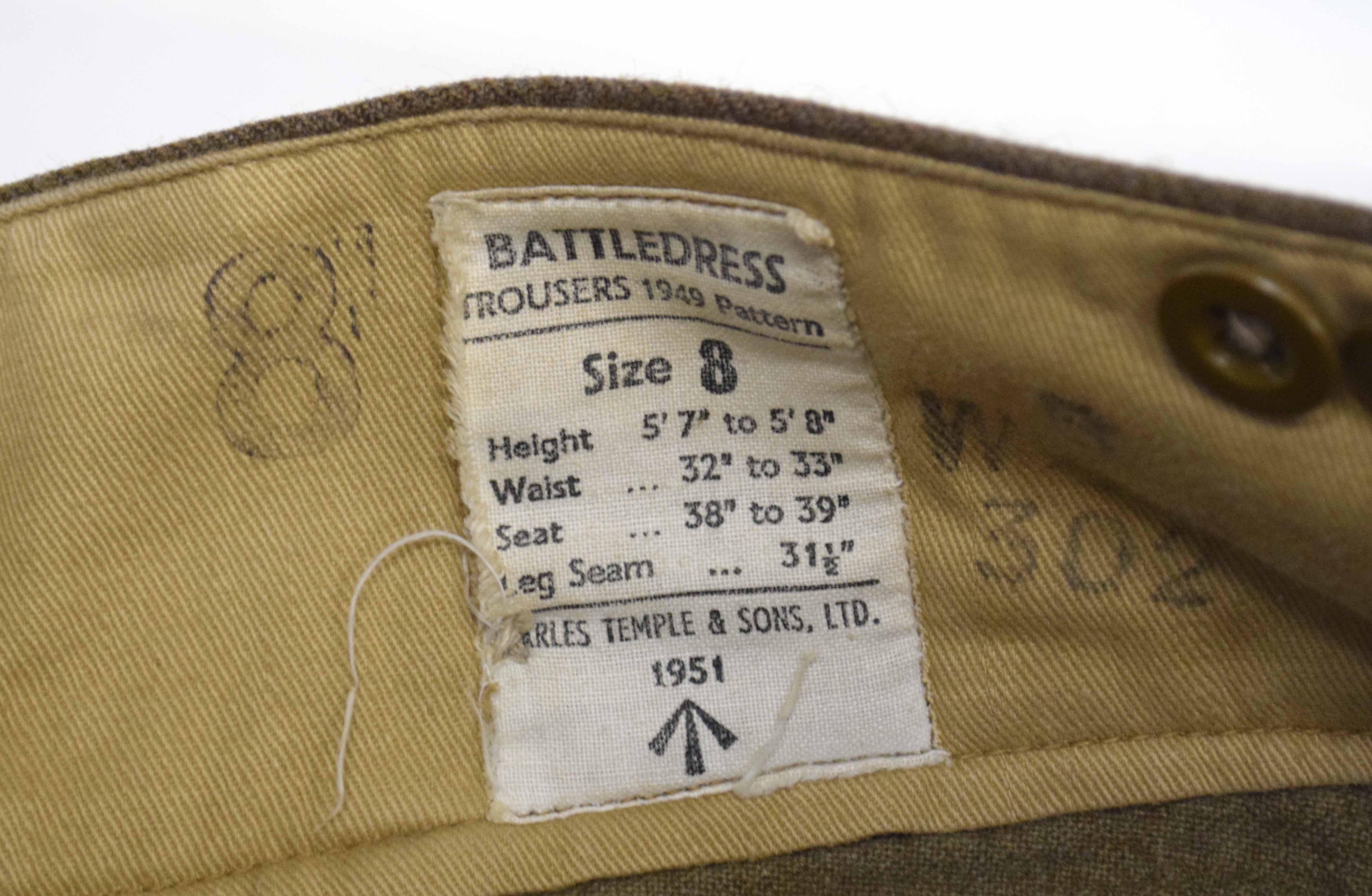 Set of battle dress 1949 pattern to include blouse dated 1952, size 8, badged up to 11th Armoured - Image 4 of 4