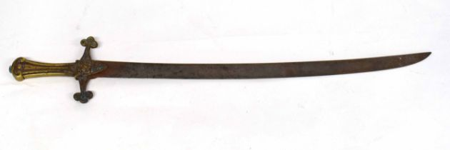 Early Victorian 1856 pattern drummer's sword with unusual curved blade, lacking scabbard, rusty