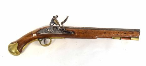 "Georgian English Enfield Tower long sea service .577 ""Regulation bore"" flintlock pistol with brass"