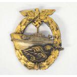 Third Reich Second Type S-boat war badge, fast attack craft war badge (Schnellbootkreigsabzeichen)