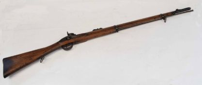 19th century two-band percussion cap rifle with ladder sight, made by James Bryce, Edinburgh, with