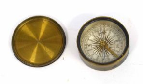 Small brass Victorian travelling compass with brass topped lid