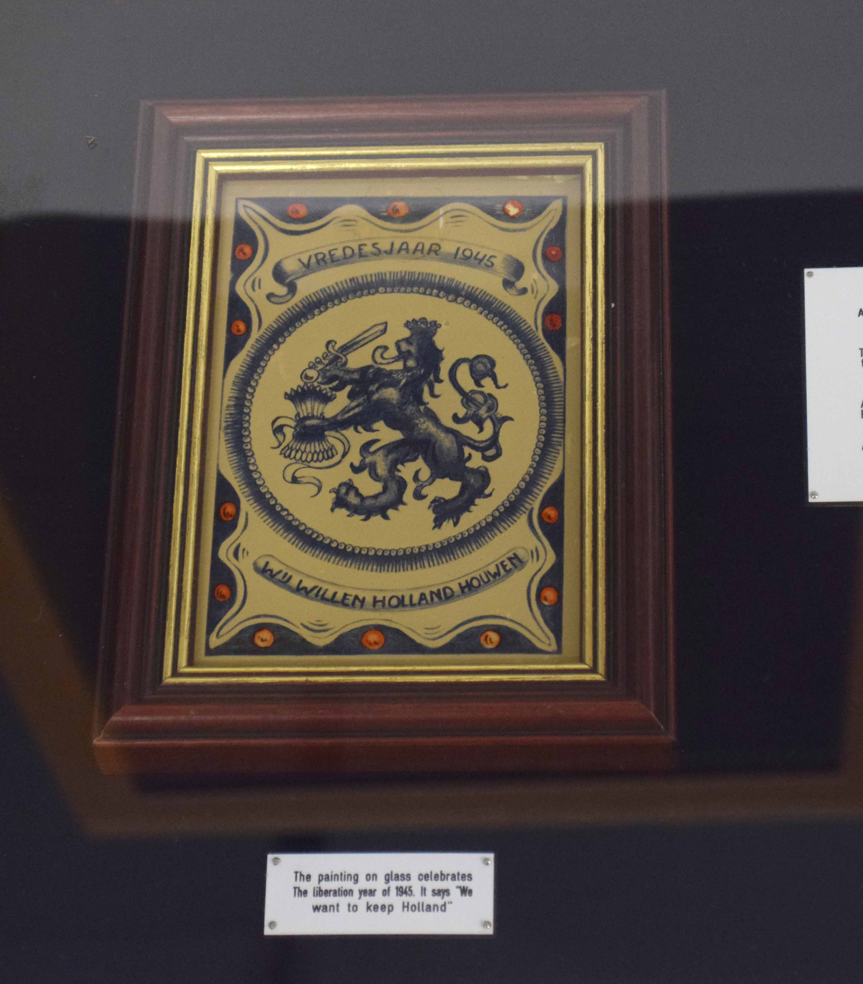 WWII display case with items from German occupied Holland to include civilian ration coupon - Image 2 of 5