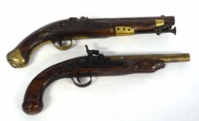 Two pistols, one Georgian Tower flintlock pistol converted to percussion cap, with brass butt cap,