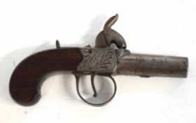 """19th century English percussion box-lock pistol by Louth, with seized turn-off barrel, engraved """""""