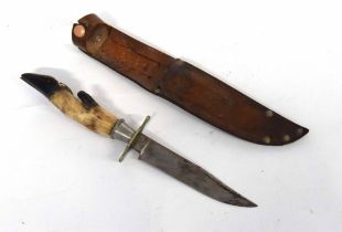 20th century hunting knife with deer hoof handle and scabbard, made by John Brookes of Sheffield.