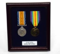 WWI medal pair impressed to 2nd Lieut Frank Harbron of 2nd Battalion 6th Company Manchester Regt