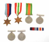 Collection of six British WWII campaign medals - Italy Star, 1939-45 Star, Defence medal, two 1939-