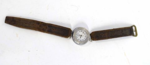 """20th century OLMA dustproof wrist watch with leather strap, etching to reverse """"SGN H.L. Daniel"""