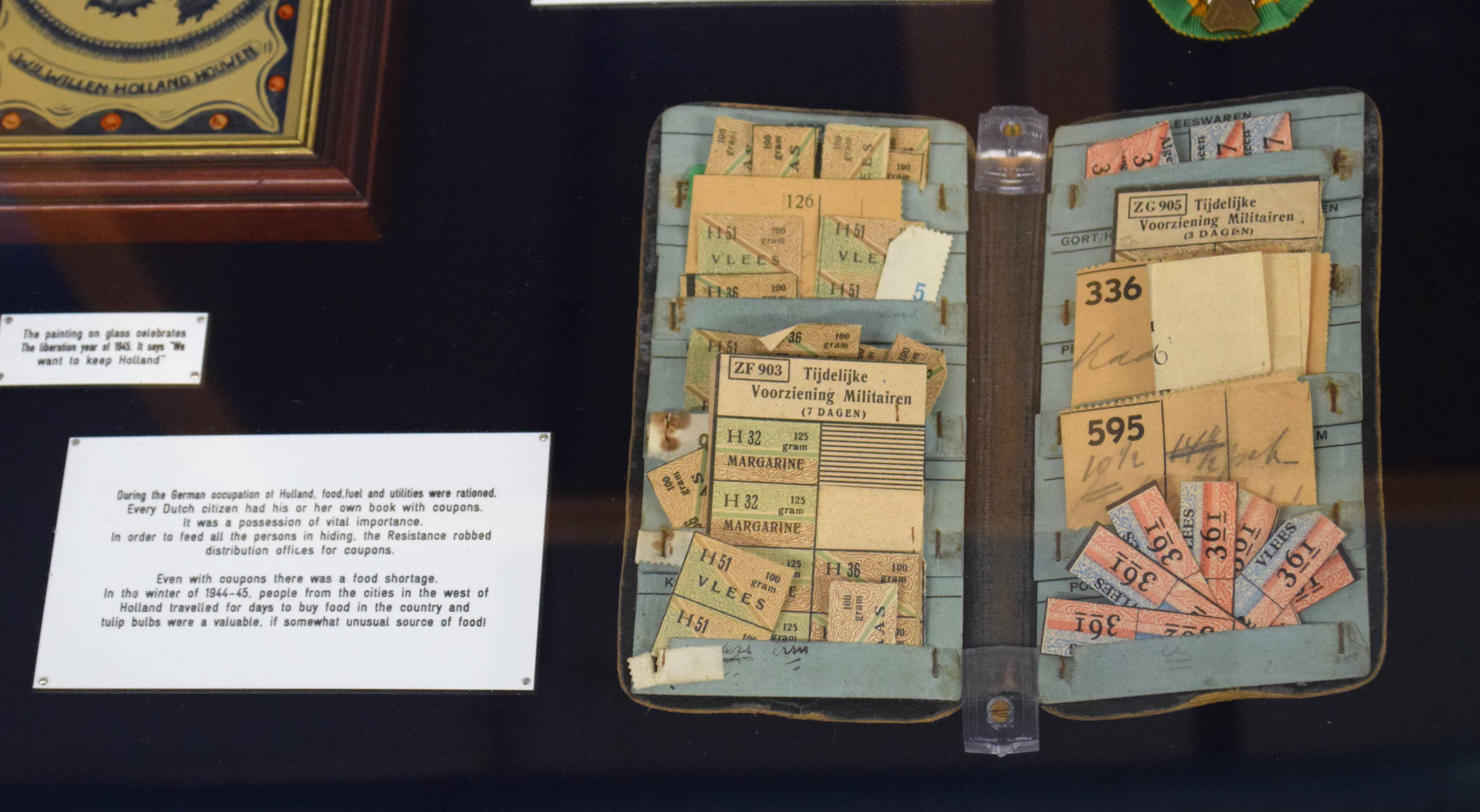 WWII display case with items from German occupied Holland to include civilian ration coupon - Image 3 of 5