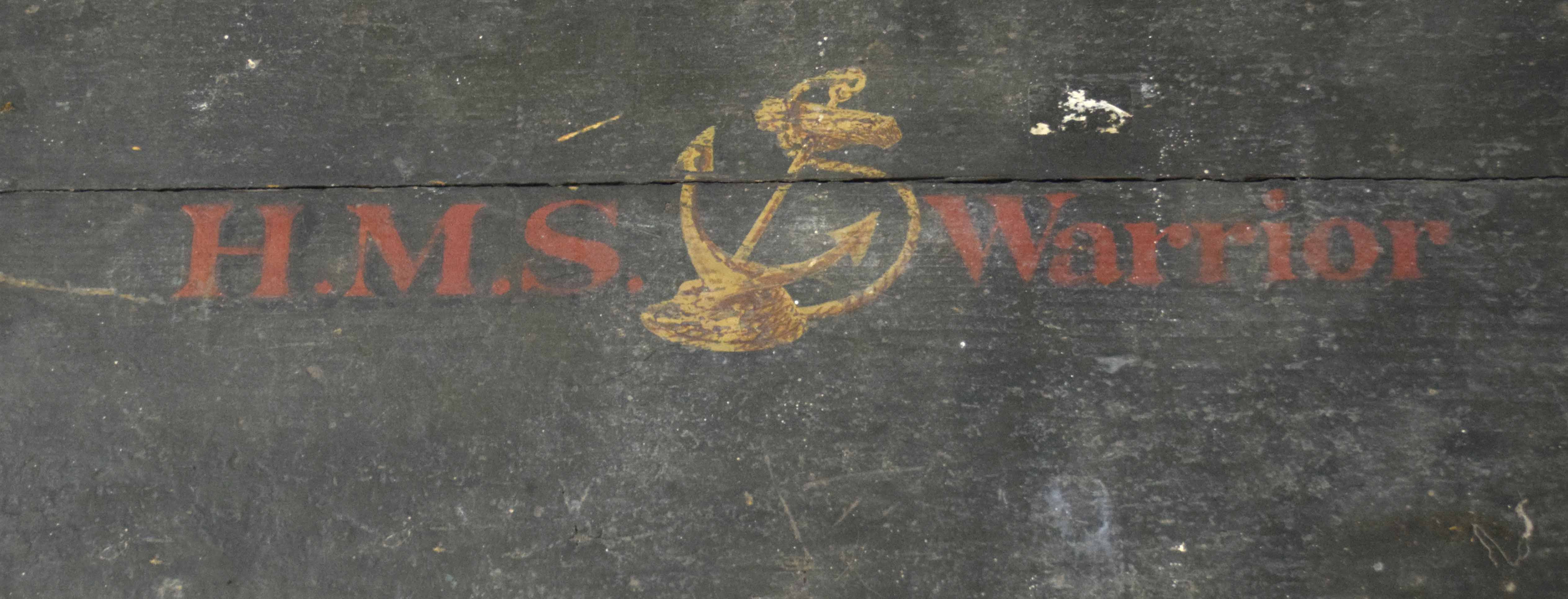"""20th century Naval painted wooden chest with """"HMS WARRIOR"""" on lid, and No 2 below lock plate, - Image 2 of 3"""