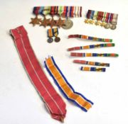 WWII Naval medal group with miniatures, consisting of 1939-45 Star, Atlantic Star with France and