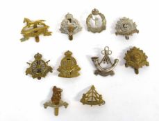 Quantity of ten 20th century British Military cap badges to include Army Cyclist Corps,