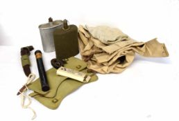 Quantity of military items to include British 20th century canteen, ARP canteen, military canister