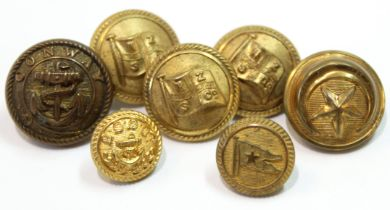 Small quantity of seven assorted Naval and White Star line buttons