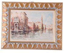 Venetian scene with gondolas on a canal