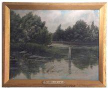 C Foot, signed, Pangbourne Weir, Berkshire, 35 x 45cm