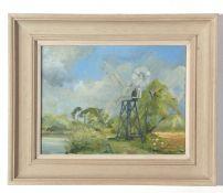 T Fairhurst, signed Oil on board, Wind Pump, 22 x 28cm