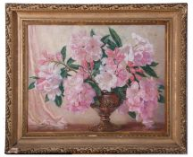 C Shilton, signed, pastel, floral arrangement in ornate urn, 53 x 67cm
