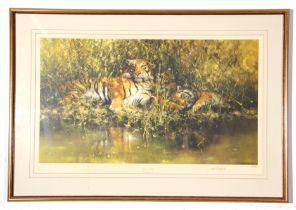 "Large framed David Stephens Print, ""Sleepy Tigers"", signed in pencil to margin, 45 x 73cm"
