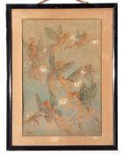 M M Gell (early C20th book illustrator), Watercolour, Fairies, 34 x 23cm