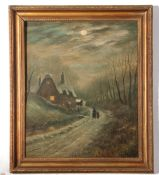 20th century unsigned English School oil on board – two figures in a winter landscape, 60 x 49cm