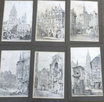 After Samuel Prout, Various European city scenes, black and white engravings (8)