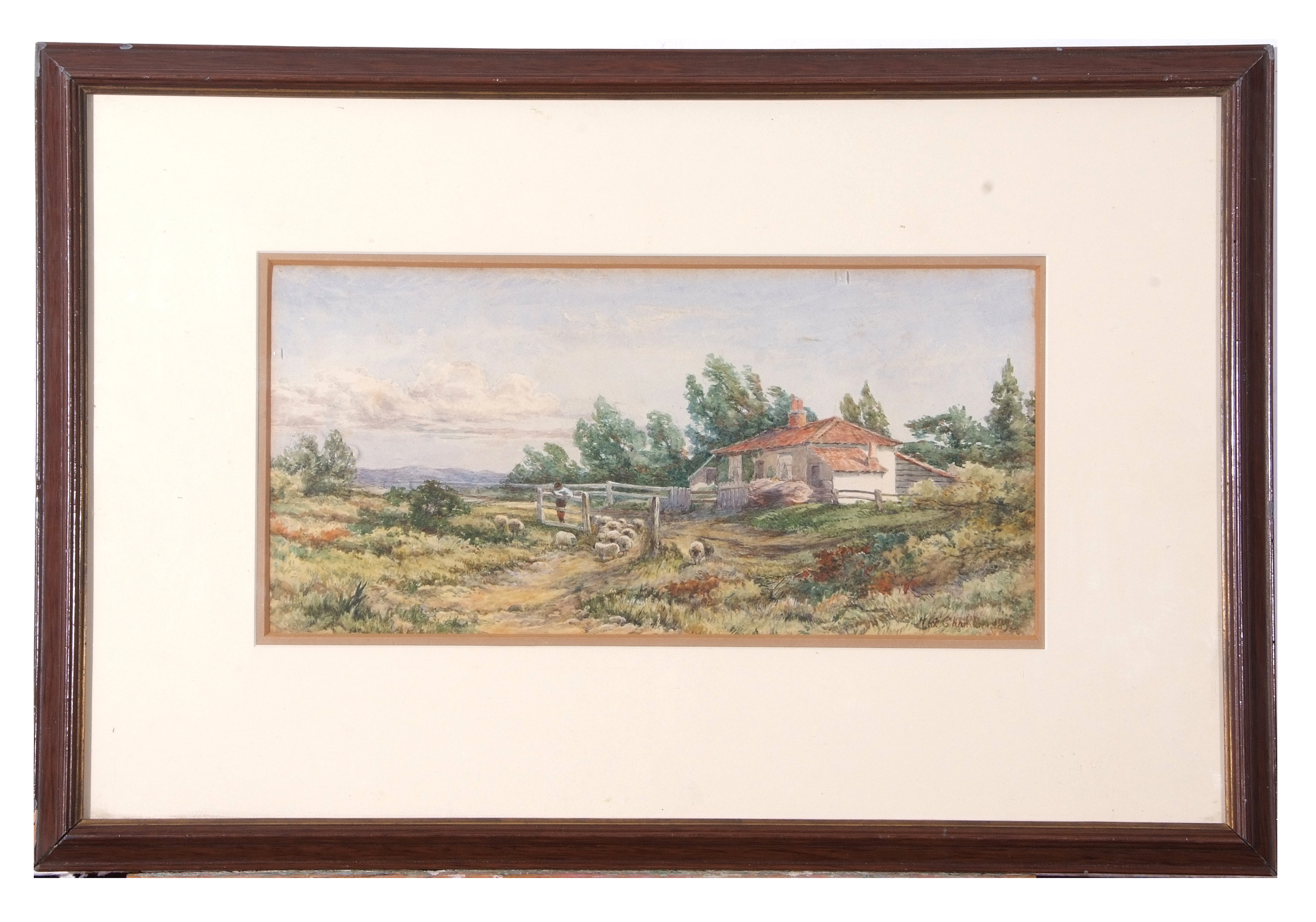 Max Chambers, signed, dated 1892, Cottage and sheep in extensive landscape, 19 x 39cm
