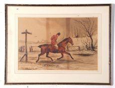 After Henry Alken (1785-1851), unsigned watercolour – huntsman in a snowstorm, 28 x 43cm
