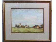 Guy Busby, Watercolour, Norfolk Village Scene, 25 x 35cm