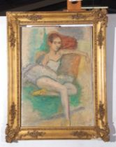C Smith (xx), signed, oil on artist's board – a young ballerina seated, 57 x 40cm