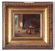 Indistinctly signed and dated '72 (lower right), oil on board, naïve kitchen interior scene with two
