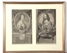 After Houbracken, engravings, King Charles I and his wife Henrietta Maria, two in one frame, each 30