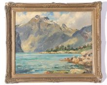 """Fred R Fitzgerald (1869-1944), signed verso, inscribed """"The Geiranger Fjord, Norway"""", 32 x 38cm"""