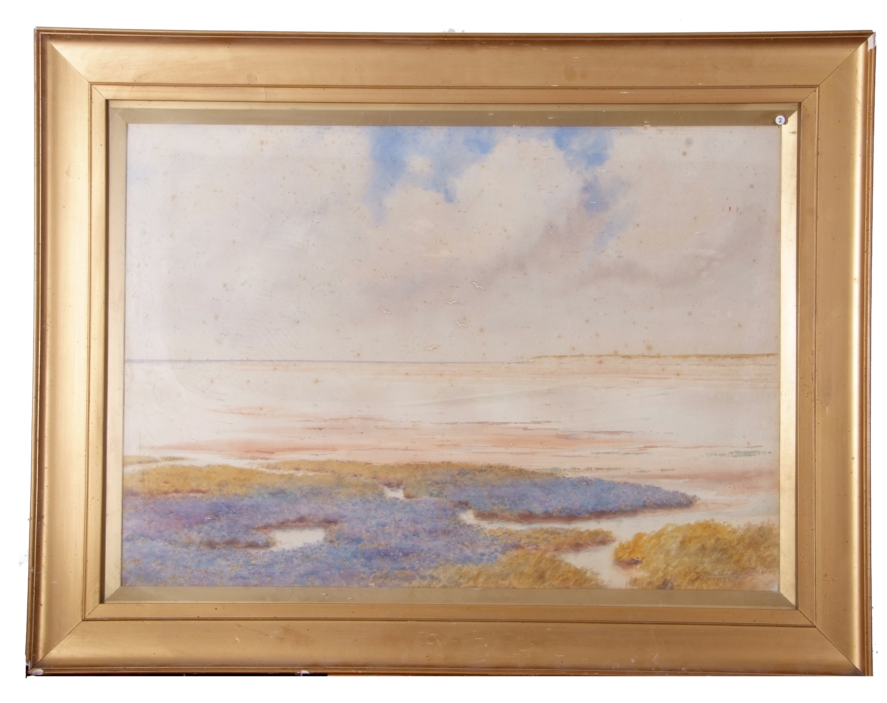 Large study of estuary scene with sea lavender in foreground, watercolour, indistinctly signed lower