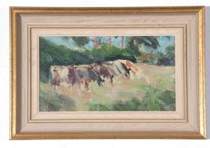 Geoffrey Wilson, Oil on board, Cattle Grazing in Lincs, 13 x 24cm