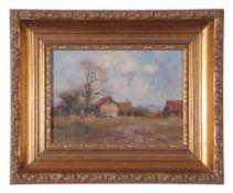 James Wright, Oil on board, Farm Landscape, 12 x 17cm