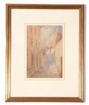 Unsigned watercolour, 20th century, Street scene with church buildings, 23 x 16cm