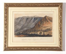 St Helena with a view of Longwood, Napoleon's Tomb, coloured aquatint, 15 x 19cm