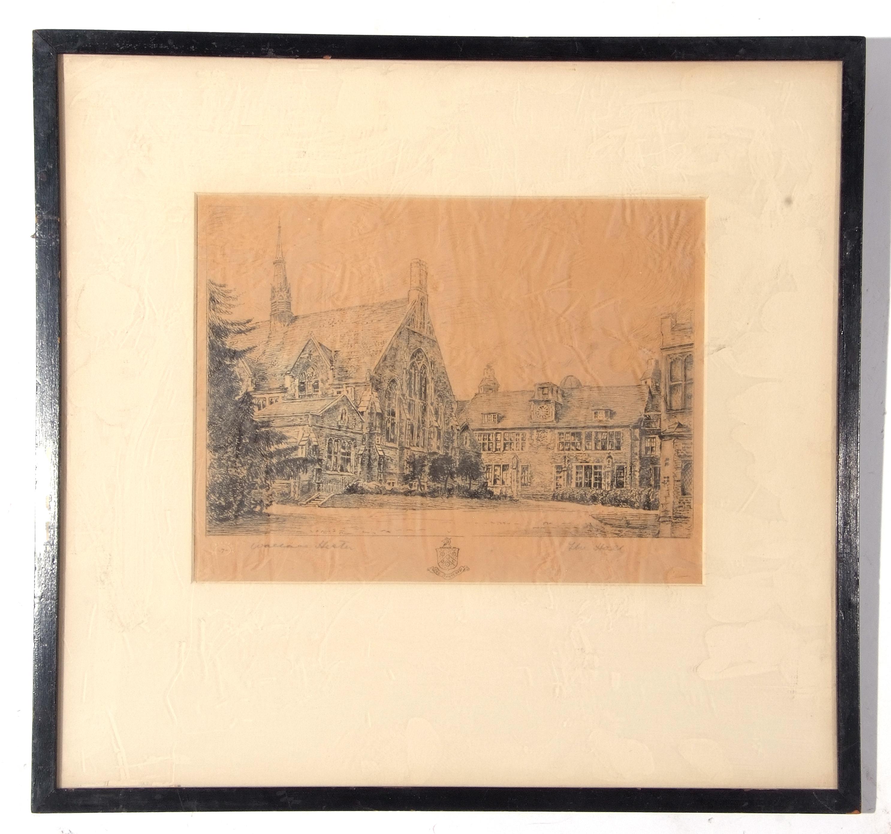 Three framed etchings, views of Charterhouse School, each 20 x 26cm - Image 2 of 3