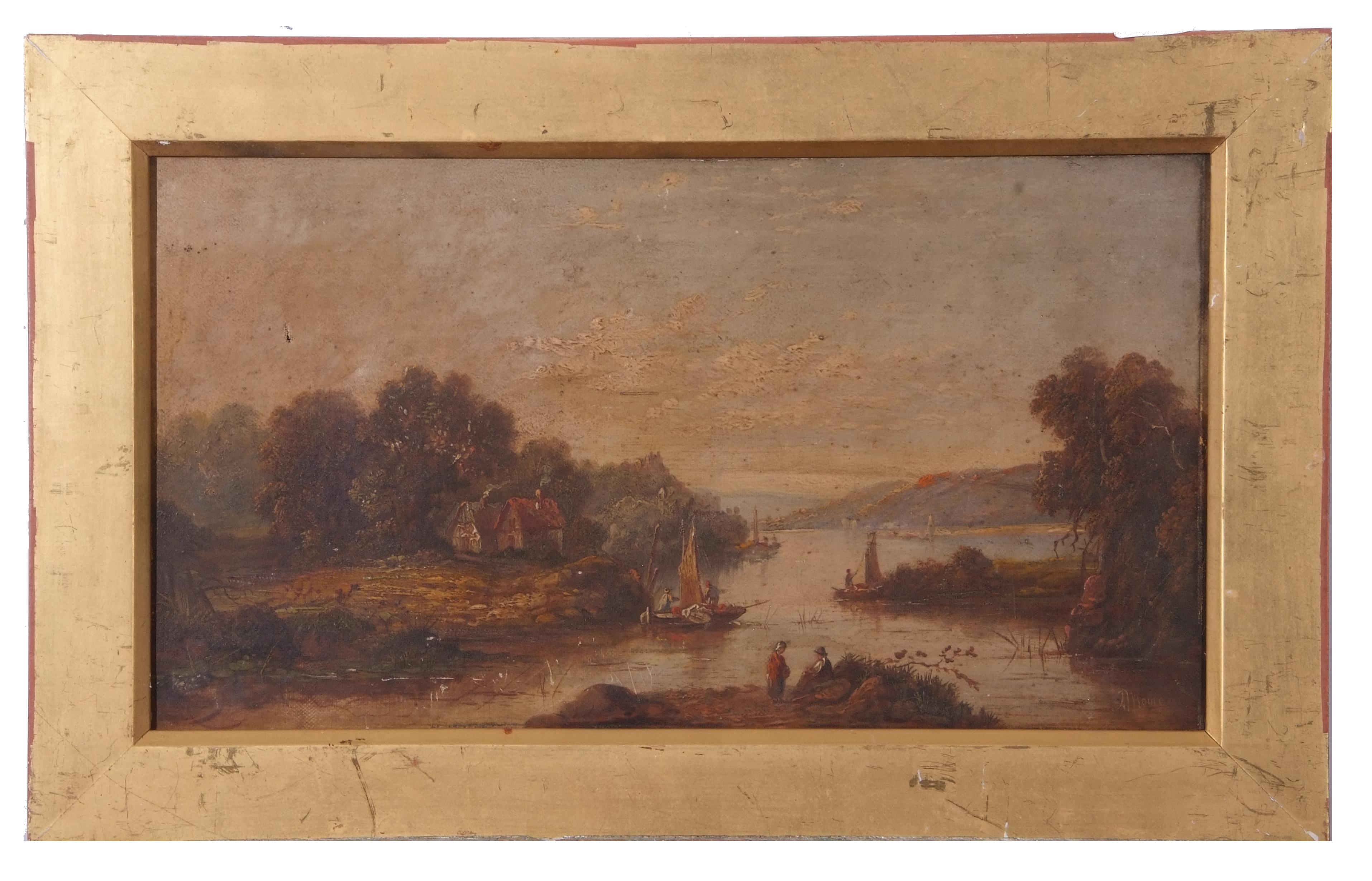 River Landscape, bearing signature J Moore, 24 x 44cm