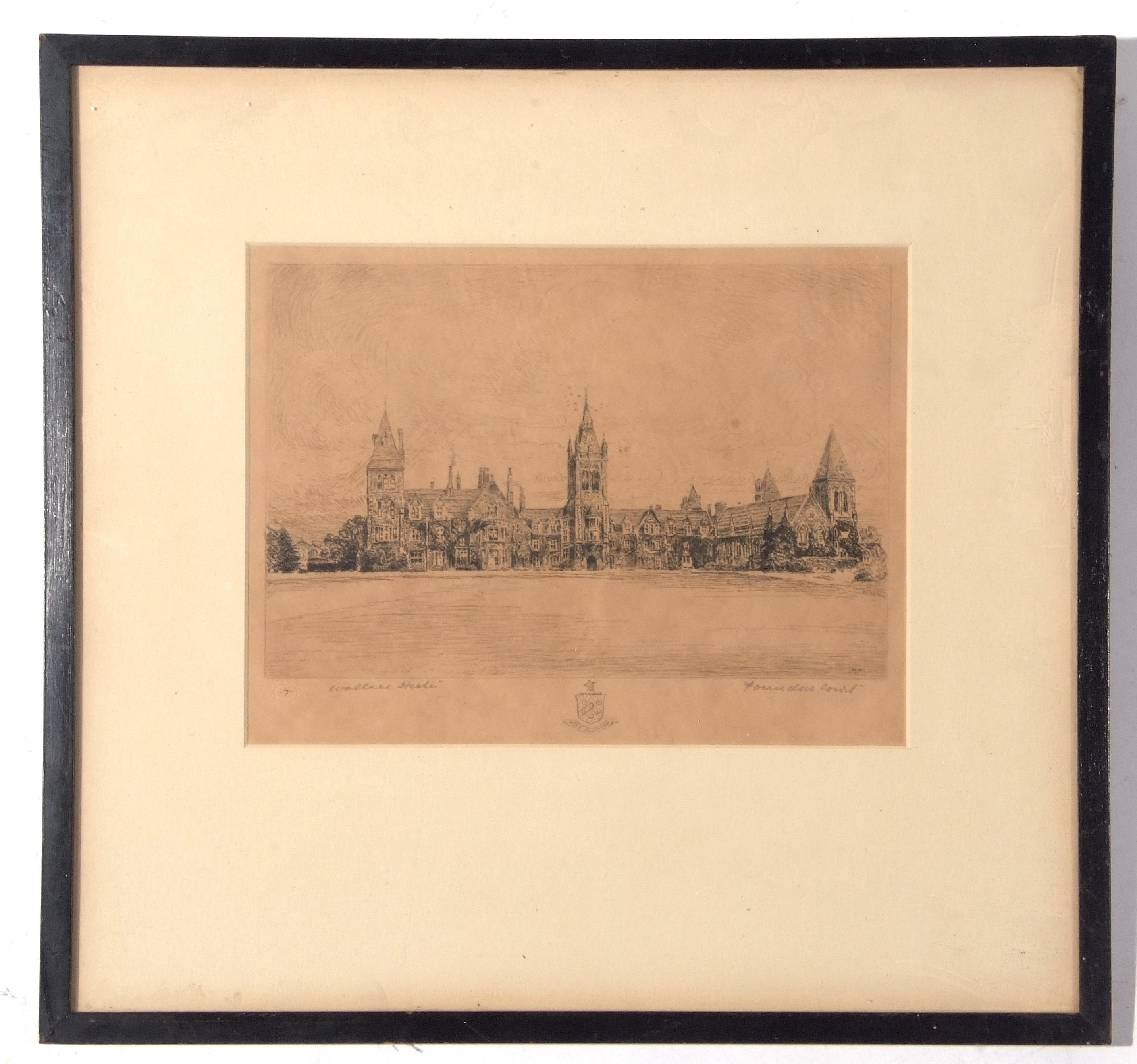 Three framed etchings, views of Charterhouse School, each 20 x 26cm
