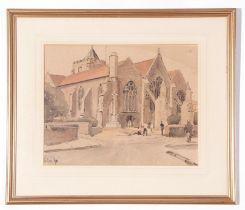 Rowland Fisher, watercolour, The Church, Rye, 32 x 40cm