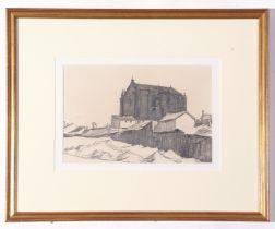 William Strang RA (1859-1921), Pencil sketch, Church in Spain, 15 x 23cm
