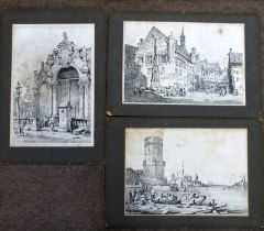 After Samuel Prout, German city scenes, black and white engravings, unframed (12)