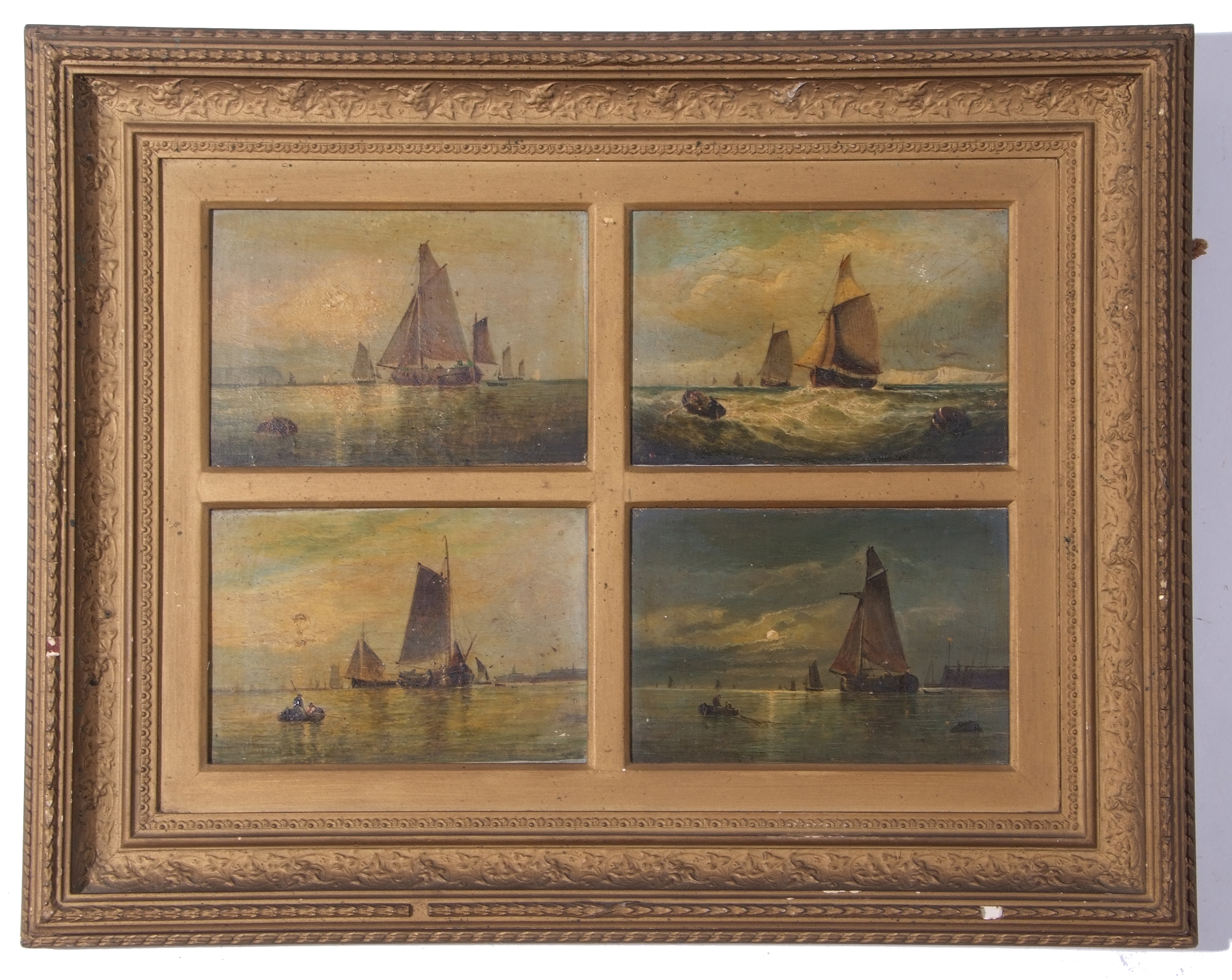 George Salter, Seascapes, four in one frame, 16 x 22cm