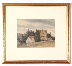 Harry Morley, watercolour, House in wooded landscape, 22 x 29cm