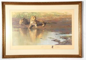 """Large framed David Stephens wildlife Print, """"Cool Waters"""", signed in pencil to margin, 50 x 78cm"""