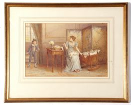 George Goodwin Kilburne (1837-1924), signed watercolour – period interior with figures, 25 x 38cm